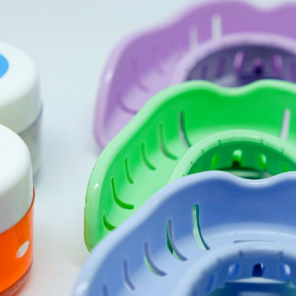 close up of all colours of trays lower